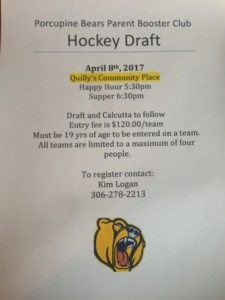 HOCKEY DRAFT @ Quillys Community Place Gym | Porcupine Plain | Saskatchewan | Canada