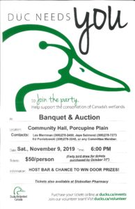 Ducks Unlimited Banquet & Auction @ Porcupine Community Hall