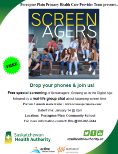 Screenagers:  Growing Up in the Digital Age @ Porcupine Plain Comprehensive School