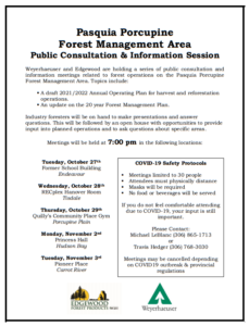 Pasquia Forest Management Area Public Info Session @ Quilly's Community Place, Porcupine Plain