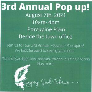Gypsy Soul Fabrics Pop-Up Shop! @ Beside the Town Office